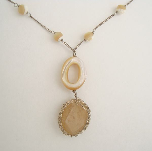 J Jill Rutilated Smoky Quartz Lavalier Pendant Necklace Gemstone Jewelry