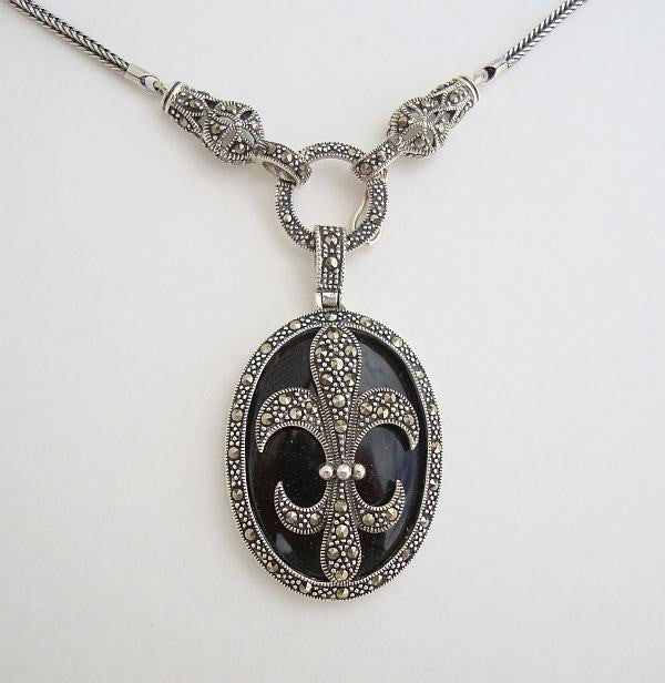 WS Signed Fleur de Lis Sterling Silver Pendant Necklace Marcasites Black Jewelry