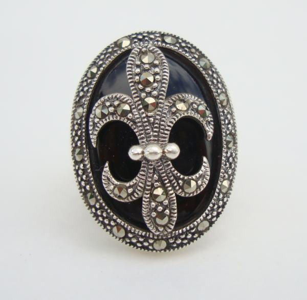 WS Signed Fleur de Lis Sterling Silver Ring Size 7 Marcasites Black Jewelry