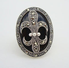 WS Signed Fleur de Lis Sterling Silver Ring Size 7.25 Marcasites Black Jewelry