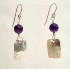 MD Signed Sterling Silver Amethyst Earrings Butterfly Figural Vintage Jewelry