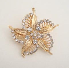 Spectacular Rhinestone Openwork Floral Brooch Embossed Leaves Vintage Jewelry