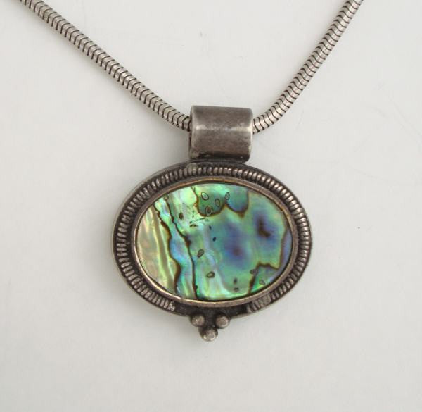 Sterling Silver Abalone Pendant Necklace 35 Inch Serpentine Chain Vintage Jewelry