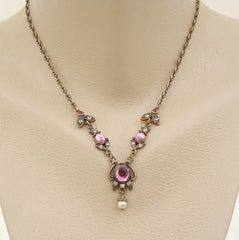 Sweet Romance signed Lavalier Necklace Victorian Style Amethyst Jewelry