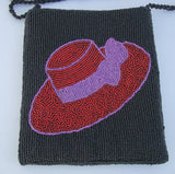 Finely Beaded Red Hat Society Purse Black Beaded Shoulder Bag Clutch Accessory