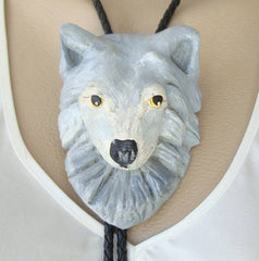 Large Gray Wolf Bolo Necklace Hand Painted 1999 Vintage Figural Jewelry