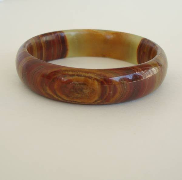 Agate Bangle Bracelet Smaller Wrist Brown Green Gemstone Jewelry