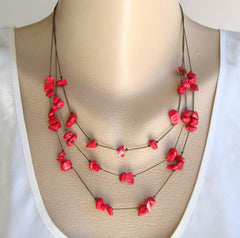 Triple Strand Red Coral Necklace Copper Chains Gemstone Jewelry