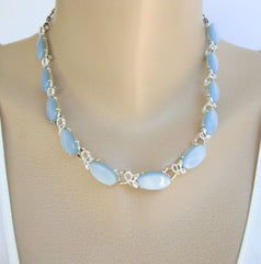 Coro Blue Moonglow Lucite Link Necklace 1950s Vintage Jewelry