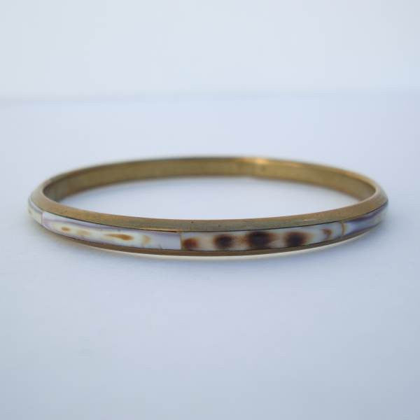 Brass and Horn Thin Bangle Bracelet Vintage Jewelry