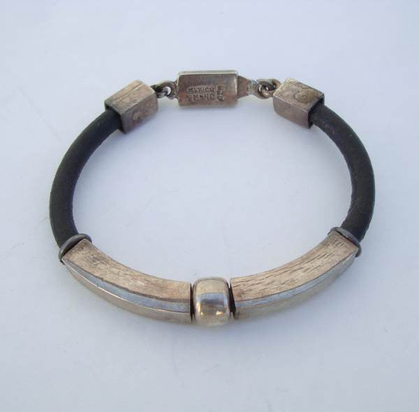 Taxco Mexican Sterling Silver Bracelet Leather Mod Design Th 40