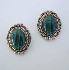 NE Signed Malachite Sterling Silver Clip On Earrings Designer Gemstone Jewelry