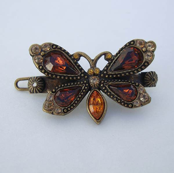 D Signed French Butterfly Rhinestone Hair Pin Topaz Vintage Jewelry