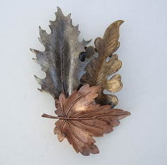 Copper Silver Brass Leaves Brooch Handcrafted Floral Jewelry