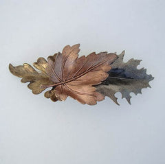 Copper Silver Brass Leaves Hair Barrette Handcrafted Floral Jewelry