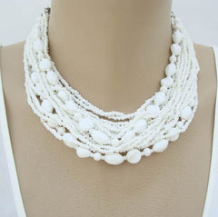 Japan 17-Strand White Micro-Bead Choker Necklace Vintage Jewelry