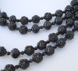 4-Strand Black Roses Bead Necklace Rhinestones Vintage Floral Mourning Jewelry