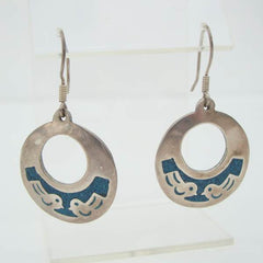 Taxco Sterling Silver Hoop Earrings Birds Turquoise Mosaic Vintage Jewelry