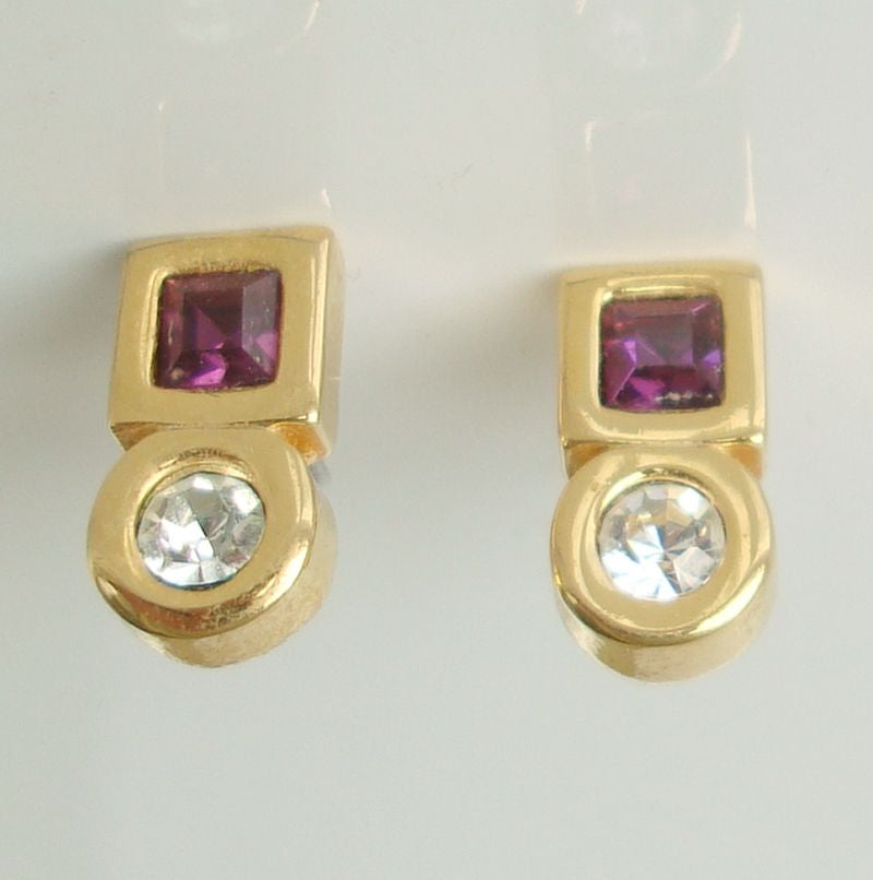 Klein Anne Geometric Amethyst Rhinestone Earrings Post Style Designer Jewelry
