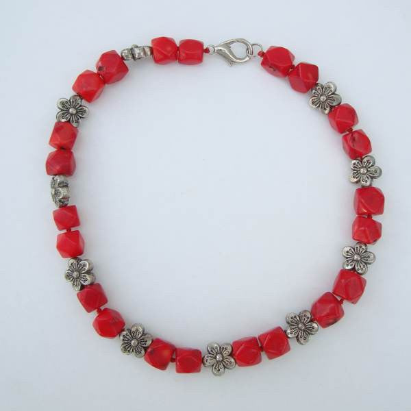 Chunky Coral Bead Necklace Floral Shaped Silver Beads Gemstone Jewelry
