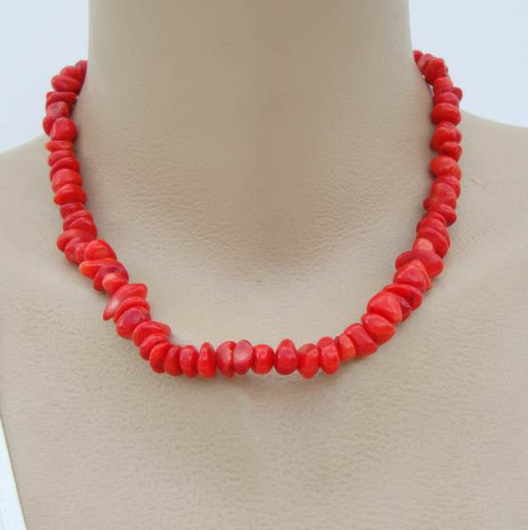 Red Coral Bead Necklace Sterling Silver Clasp Gemstone Jewelry