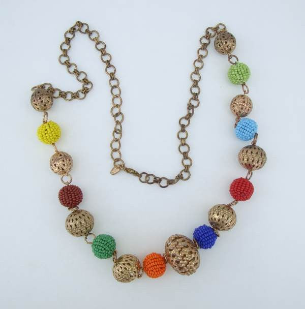 CGM India Colorful Seed Bead Covered Openwork Goldtone Necklace Unusual Jewelry
