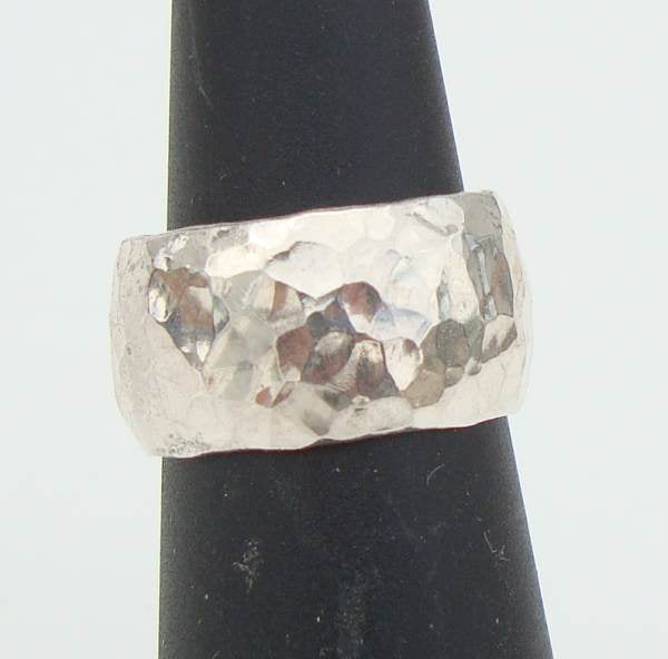 Wide Israel Hammered Sterling Silver Ring Size 5 Signed Jewelry