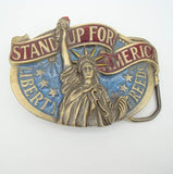 Great American Buckle Co Stand Up For Liberty Belt Buckle 1984 Vintage