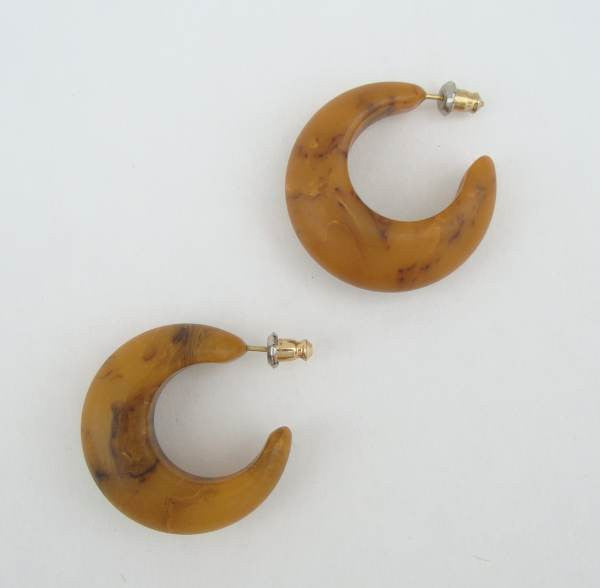Butterscotch Brown Marbled Bakelite Hoop Earrings Vintage Jewelry