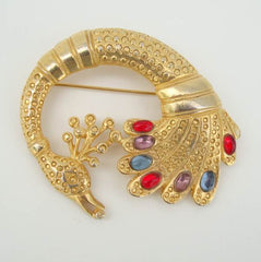 Retro Peacock Brooch Colorful Red Blue Purple Cabs Vintage Figural Jewelry
