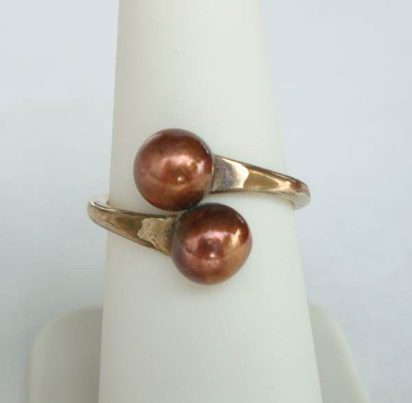 Copper 12K Gold Filled Bypass Ring Size 7 Vintage Jewelry