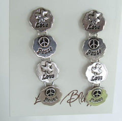 LM Bling Peace Love Medallion Dangle Earrings New on Card