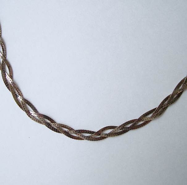 Twisted Triple Strand 30 Inch Chain Necklace Silvertone Vintage Jewelry