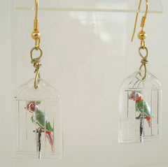 Reverse Carved Parrots in Cages Pierced Earrings Vintage Bird Jewelry