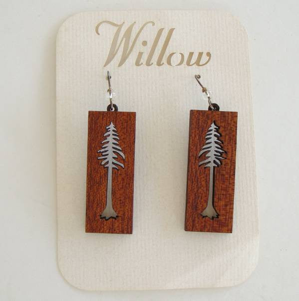 Willow Maple Tree Dangle Earrings Sterling Wires Floral Jewelry
