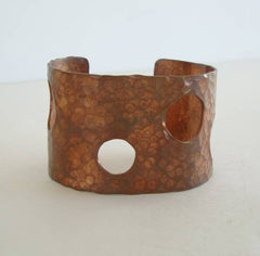 Wide Hammered Copper Cuff Bracelet Vintage Jewelry