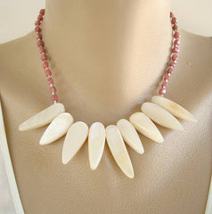 MOP Sharks Teeth Fringe Necklace Rhodonite Gemstone Jewelry