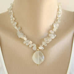 Genuine Moonstone Pendant Necklace Faceted Gemstone Jewelry