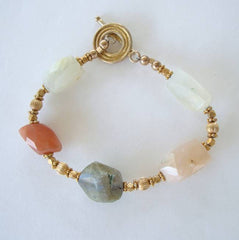 Mixed Gemstone Bracelet Labradorite Carnelian Moonstone Jewelry