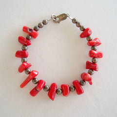 Polished Red Coral Bracelet Sterling Silver Gemstone Jewelry