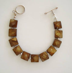 Tiger's Eye Square Faceted Links Bracelet Gemstone Jewelry