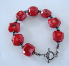 Chunky Red Coral Bracelet Inclusions Extra Long 9 Inches Gemstone Jewelry