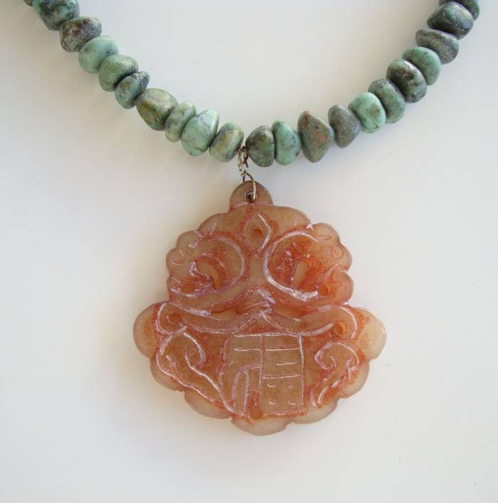 Jade Turquoise Pendant Necklace Dragon Heads Gemstone Jewelry