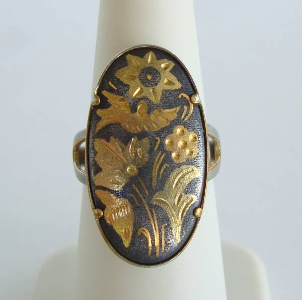 Oval Damascene Ring Flowers Birds Adjustable Size 6.75 Vintage Jewelry