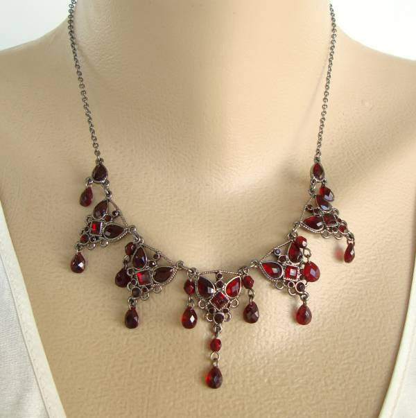 Carolina Herrera Ruby Red Fringe Necklace Runway Designer Jewelry