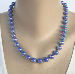 Iridescent Lusterware Bead Necklace Blue Green Pink Purple Vintage Jewelry