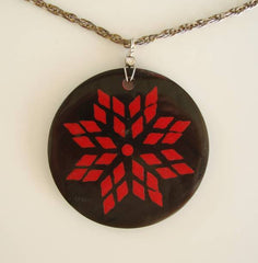Red Black Pendant Necklace Stylistic Floral Design Vintage Jewelry