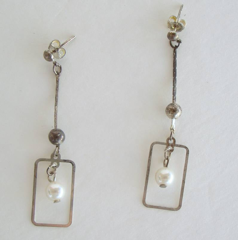 Art Deco Pearl Drop Pierced Earrings Geometric Vintage Jewelry