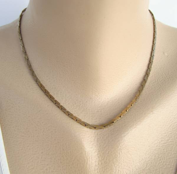 Double Layer C-Link Snake Chain Necklace 16.5 Inches