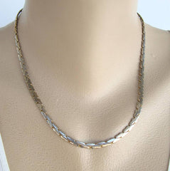 C-Link Flat Snake Chain Necklace 18 Inches Silvertone Jewelry